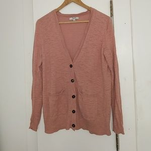 Dusty rose pink Madewell boyfriend cardigan